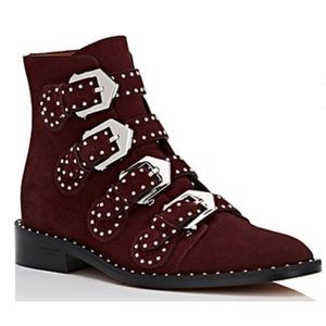 New Givenchy Elegant Boots Oxblood Suede SZ 41